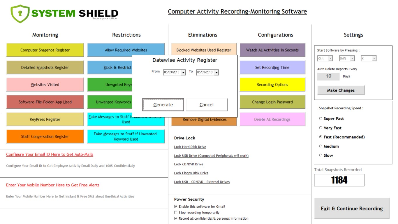 System Shield Employee Computer Recording Software